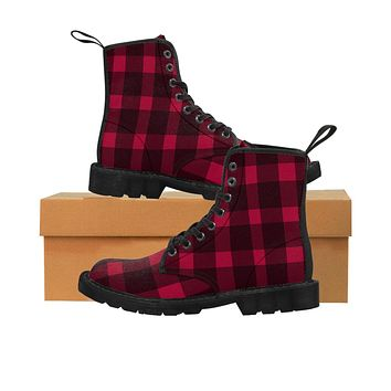 Red and Black Plaid Boots