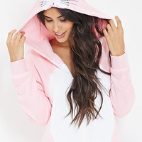FOREVER 21 Plush Bunny Onesuit Pink/White