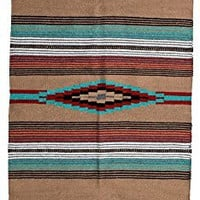 Beautiful Hand-Woven Serape Area Rugs Featuring Feather Hawkeye Pattern. Three Sizes to Choose From. (HA64FEATHER5)