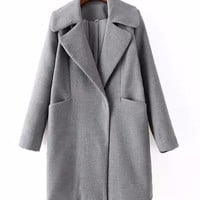 Notched Collar Long Sleeve Coat