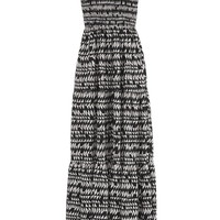 Smocked Top Tiered Skirt Patterned Maxi Dress - Black