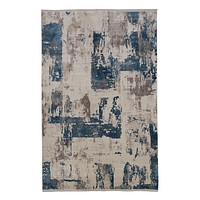 Blue and Beige Patterned Rug S | Andrew Martin Azra