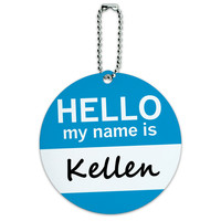 Kellen Hello My Name Is Round ID Card Luggage Tag