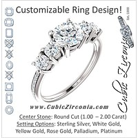 Cubic Zirconia Engagement Ring- The Denae (Customizable Round Cut 5-stone Plus Accented Band)