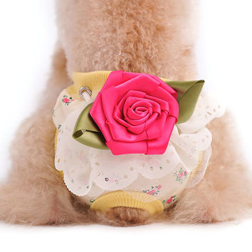 Pet Dog Floral Sanitary Panty Female Puppy Shorts Pant Diaper Cute Underwear Large