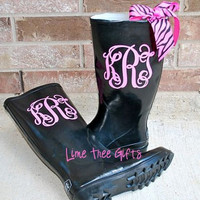 Vinyl Monograms - matching pair for rain boots - 4""