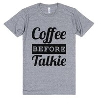 Coffee Before Talkie T-Shirt (IDD060832)-Athletic Grey T-Shirt