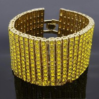 MCSAYS Men jewerly Hip Hop Style High Quality Bracelet Alloy 12 Row Crystal Tennis Chain CZ Bling