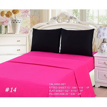 Tache Cotton Hot Pink and Black Bed Sheet Set (BS4PC-BP)