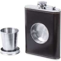 Maxam® 6.8oz Stainless Steel Flask with Built-In Cup