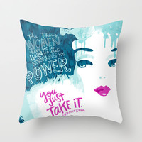 Woman Power Barbie Throw Pillow by Gigglebox
