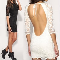 Backless Lace Hot Sale One Piece Dress [11545796303]