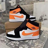 NIKE Air jordan 1 aj 1 Air force 1 Basketball shoes male air force couple street shooting all-match sports shoes sneakers Orange&White&Black
