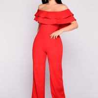 Ready To Ruffle Jumpsuit - Red