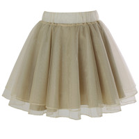 Organza Tulle Skirt in Apricot Beige S/M
