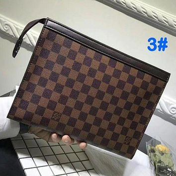 Louis Vuitton LV Fashion Casual Popular Woman Men Envelope Clutch Bag Leather File Bag Tote Handbag