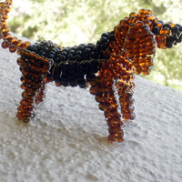 Bloodhound Black and Tan Beaded Dog Sculpture