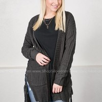Lace Up Knit Cardigan | Charcoal