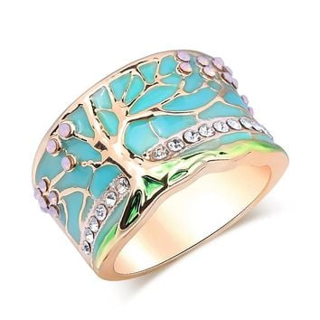 Gold & Crystal Tree Of Life Protection Ring