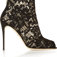 Dolce & Gabbana - Lace and mesh peep-toe ankle boots