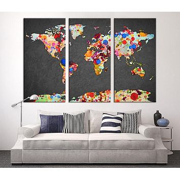 Wall Art Canvas Print Watercolor with Paint Drops World Map Art Watercolor 3 Panel World Map