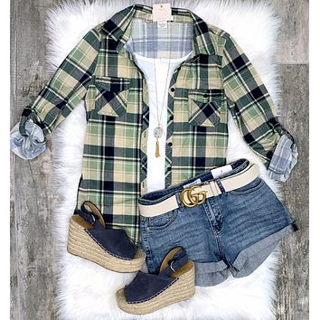 Penny Plaid Flannel Top - Navy/Sage