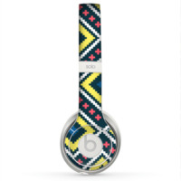 The Gold & Black Vector Plaid Skin for the Beats by Dre Solo 2 Headphones