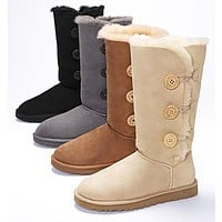 UGG Hot Selling Classic Short Snow Boots Casual Three Button Knot High-Top Warm Boots Shoes