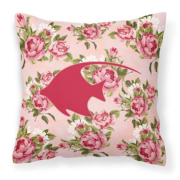 Fish - Angel Fish Shabby Chic Pink Roses  Fabric Decorative Pillow BB1019-RS-PK-PW1414