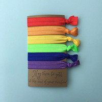 Rainbow Fold Over Elastic (FOE) Hair Tie With Quote On It - Perfect For Party Favors, Stocking Stuffers, Working Out, Or Casual Use