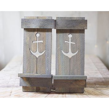 Gray Nautical Anchor Pallet Wall Sconce Set