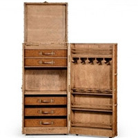 Travel trunk style wine and cocktail cabinet