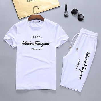 Boys & Men Salvatore Ferragamo Fashion Casual Shirt Top Tee Shorts Two Piece Set