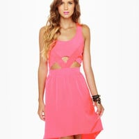 Cute Pink Dress - High-Low Dress - Cutout Dress - $44.50