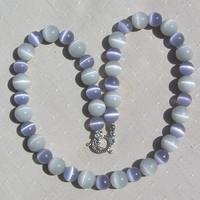 "Lavender & Dove Gray Cat's Eye Gemstone Necklace  ""Cat's Whiskers"""