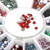 Nail Art Rhinestones By Cheeky- Wheel of 2400 Premium Manicure Nail Rhinestones with 12 Different Colors