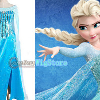 Frozen Costume Snow Queen Elsa Costume Custom Size For Adult and Kids Princess Dress Blue Sequined Dress Cosplay Costume