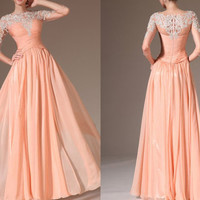2014 lace applique long sleeve fashion formal evening dress Pageant dress party dress ball gown