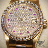 Rolex Datejust President 18k Yellow Gold Diamond & Ruby 31mm Ladies Watch 68278