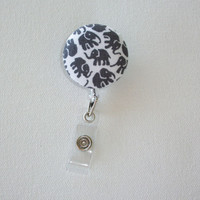 Retractable ID Badge Holder Reel  - Fabric Button - Gray Elephants