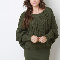 Cable Knit Dolman Mini Dress