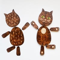 Articulated Pyrography Cat Doll - Black Cat Wood Toy -  Woodburning