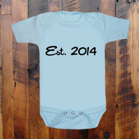 Baby Clothes. Est. 2014. Funny baby romper onezee original hand screen print. baby gift. baby announcement. baby shower gift. Onezee.