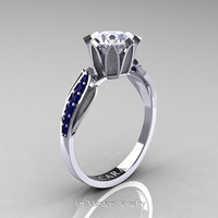 Cara 14K White Gold 1.0 Ct White Sapphire Blue Sapphire Solitaire Ring R423-14KWGBSWS