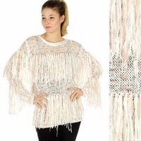 FALL WINTER TOP Tshirt Blouse Multicolored fringed knit sweater Grey
