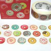 colorful donut sweet doughnut washi tape 7M cake party bagel bread cake shop bakery shop decor colorful donut sticker tape kids Dessert