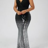 Plus Size Sequins Fishtail Maxi Evening Prom Dress