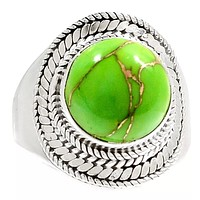 Green Copper Turquoise Sterling Silver Ring