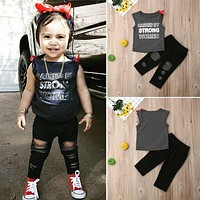 US Toddler Kids Baby Girl Vest Tank Top Denim Jeans Ripped Pants Outfit Clothes