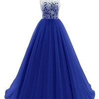 Yougao Women's Lace Long Evening Gowns Party Dresses Tulle Prom Homcoming Dress